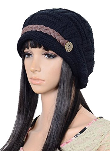 UZZO Fashion woman lady girl warm flexible handmade Knitted Crochet Baggy Beret Cap Hat embellishment by one PU Braids for woman outdoor sports(Black)