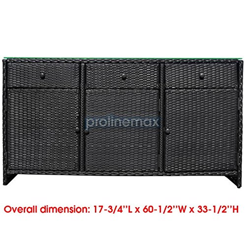 Amazon.com  BLACK 3 Drawers Wicker Rattan Buffet Serving Cabinet Table Towel Dining Dish China Storage Counter Outdoor  Garden u0026 Outdoor  sc 1 st  Amazon.com & Amazon.com : BLACK 3 Drawers Wicker Rattan Buffet Serving Cabinet ...