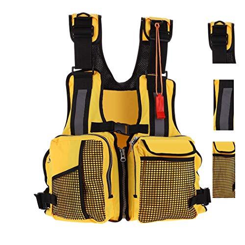 FLYDWV Fly Fishing Life Jacket Kayaking Water Suspension Life Jacket Multi-Pocket Life-Saving Vest Reflective Stripes Life Jacket (Yellow, Standard Size)