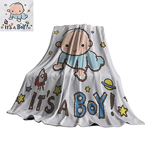 Gender Reveal,Throw Blankets Little Baby Boy Smiling with Stars Rocket Space Kids Artistic Cartoon Style All Season Blanket 80