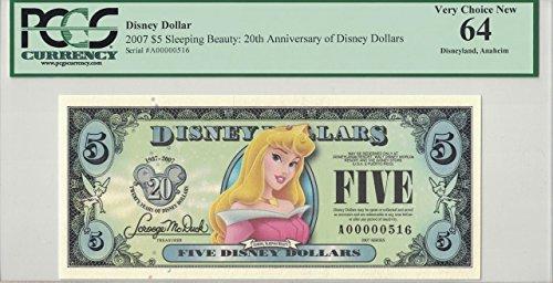 Disney Dollar 2007 $5 Aurora Sleeping Beauty A00000516 PCGS 64 Very Choice New