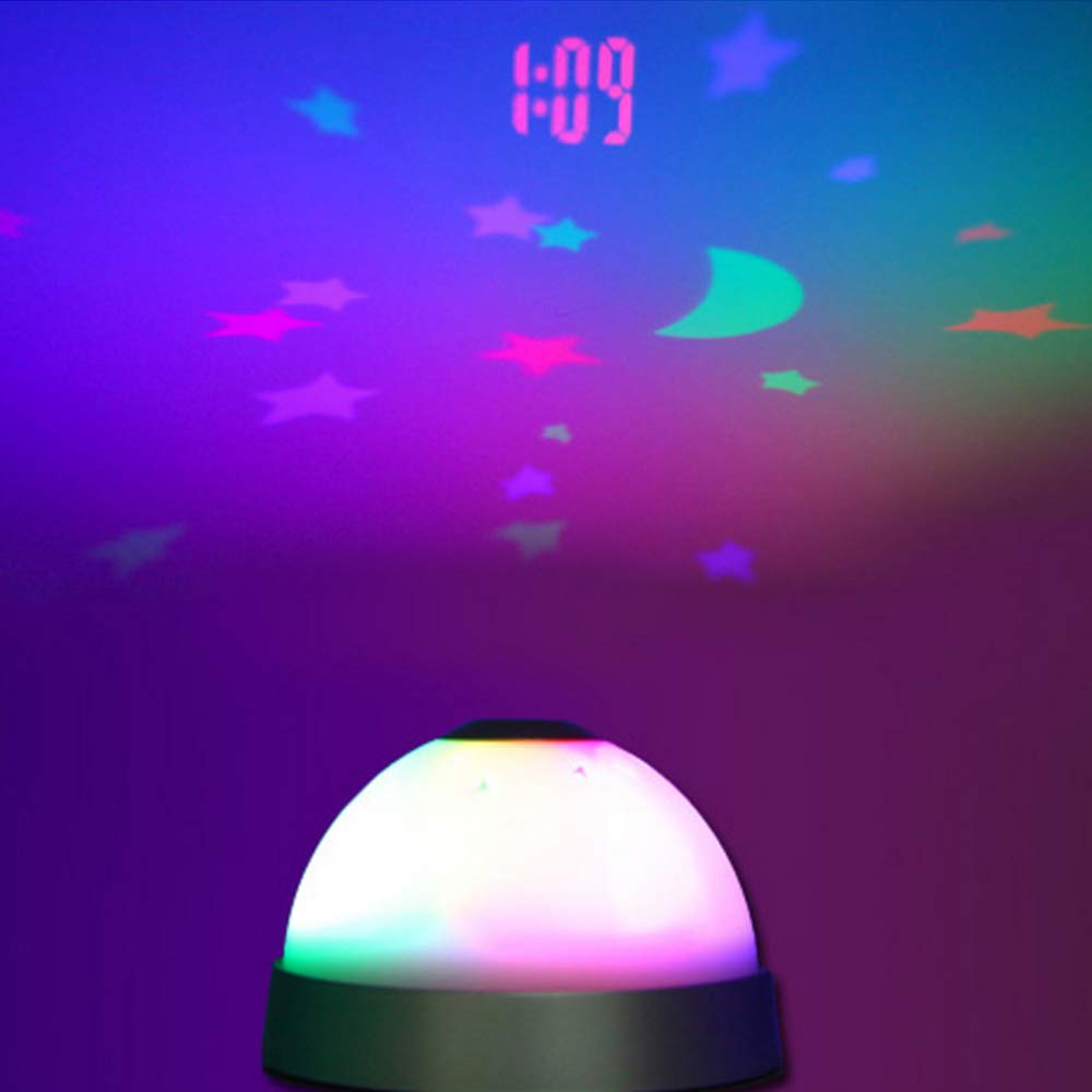 1pc Colors LED Changing Star Night Light Magic Projector Backlight Clock,Moon and Stars Projection Alarm Clock for Children by Sealive