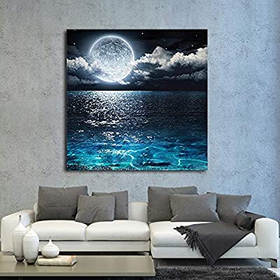 Lovely Expertise, it is good, Moon Illuminating The Clear Ocean Blue Wall Decor