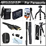Advanced Accessory Kit For Panasonic DMC-ZS15 Digital Camera Includes Extended (1200mAh) Replacement DMW-BCG10 Battery + Ac/Dc Travel Charger + Deluxe Case + Mini HDMI Cable + 57 Pro Tripod + 67 Monopod + USB Card Reader + Screen Protectors + More