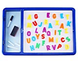 EduKid Toys Double Sided Chalk and White Board with ABC Magnets for Kids