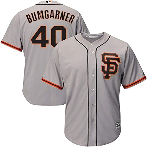Majestic Madison Bumgarner San Francisco Giants MLB Youth Gray Road Cool Base Replica Jersey (Youth Large 14-16)