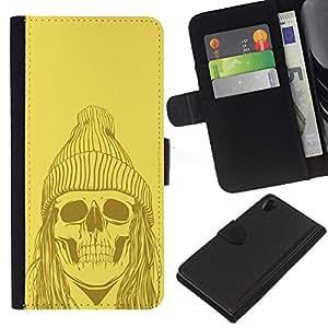 Sony Xperia Z2 D6502 D6503 D6543 L50t L50u , la tarjeta de Crédito Slots PU Funda de cuero Monedero caso cubierta de piel ( Skull Zombie Dead Man Face Ghost Art Drawing)