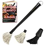 Premiala Basting Mop and Brush Kit - Includes Detachable Cotton Mop and Silicon Brush Heads! Best BBQ Mop for Succulent Juicy BBQ Meat!