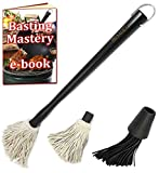 Premiala Versatile Basting Brush Mop Kit - with Removable Cotton Mop and Silicon Brush Heads! Replaces Moisture and Adds Flavor! Best BBQ Mop for Succulent BBQ Meat!