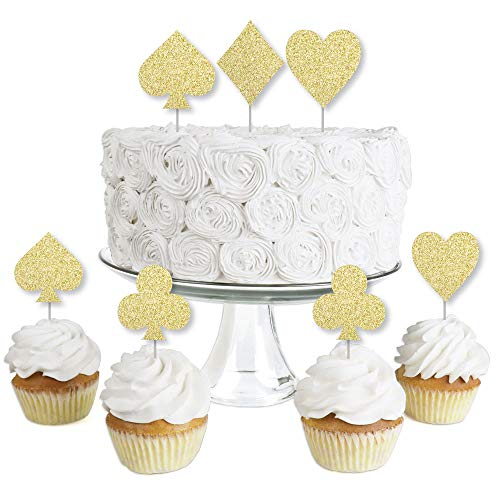 Gold Glitter Card Suits - No-Mess Real Gold Glitter Dessert Cupcake Toppers - Las Vegas and Casino Party Clear Treat Picks - Set of 24]()