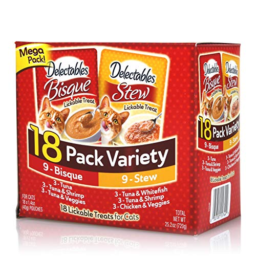 Delectables Stew & Bisque Lickable Wet Cat Treats - Chicken, Seafood & Veggies - 18 Pack Variety ()