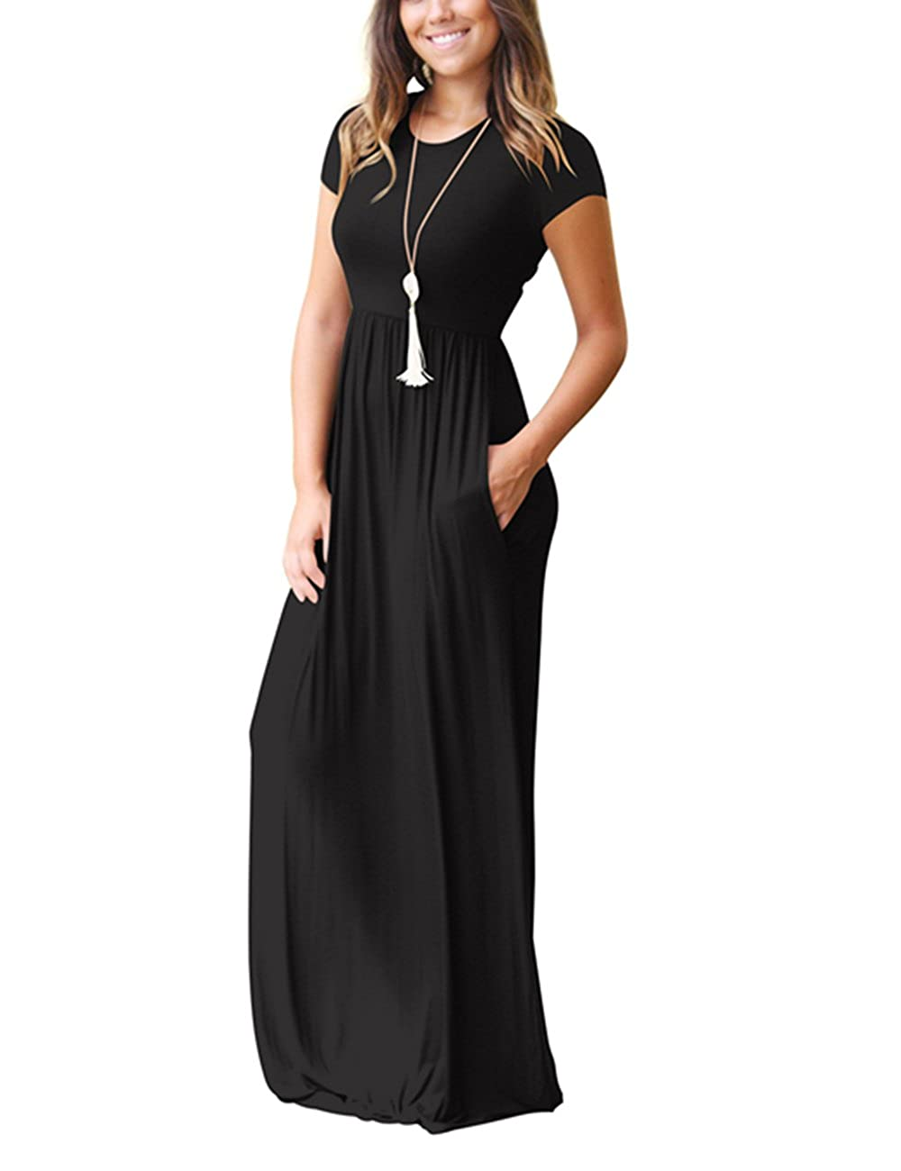 1186b5c5738 ORQ Women s Plus Size Short Sleeve Loose Plain Casual Long Maxi Dress with  Pockets at Amazon Women s Clothing store