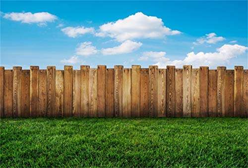 CSFOTO 7x5ft Background for Wood Fence on Meadow Blue Sky Photography Backdrop Spring Green Grass Good Weather Leisure Vacation Holiday Tourism Child Baby Photo Studio Props Polyester Wallpaper (Fence Backdrop)
