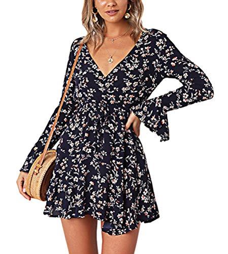Tomwell Mujer Vestido De Verano Elegante Vestido Floral De Cintura Alta Con Minivestido Con Cuello En V Color Solido Vestido De Playa Mini Vestido Cinturon De Flores