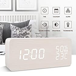 FiBiSonic wooden digital LED voice/touch control desk silent modern alarm clock Thermometer hygrometer, best gifts friends/families