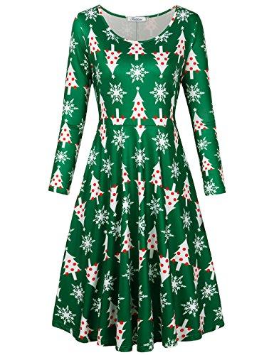 SUNGLORY Christmas Pattern Dress,Womens Christmas Dress Xmas Green Chirstmas Tree Print Flared A Line Dress