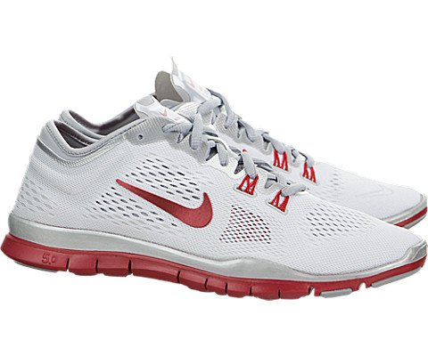 NIKE Women's WMNS Free 5.0 TR FIT 4 Team, WHITE/SPORT RED-WOLF GREY-PURE PLATINUM, 7 M US