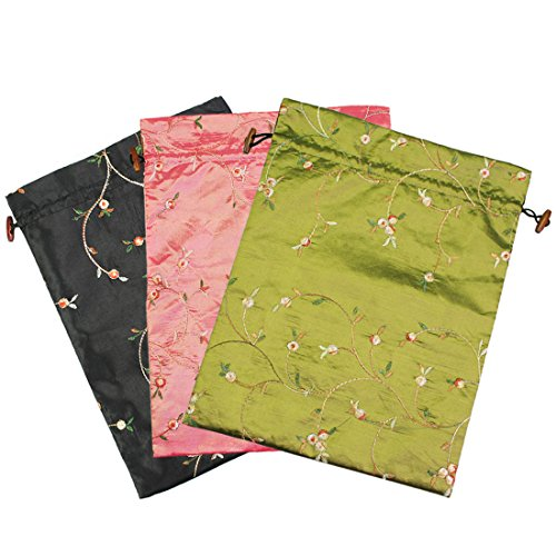 kilofly Embroidered Silk Jacquard Travel Bag, Lingerie & Shoes, Value Set of 3