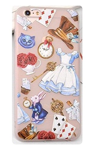 Phone Kandy Alice in Wonderland Transparent Frosted TPU Soft Silicone Gel Case Cover Retro Cartoon Cute & Screen Guard - Prime (Type #1, iPhone 6 6s)