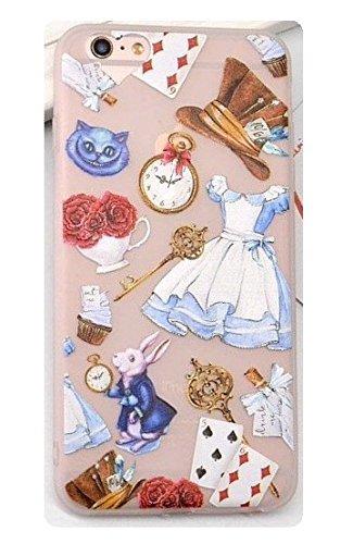 [해외]전화 칸디 이상한 나라의 앨리스 투명 한 서리로 덥은 TPU 부드러운 실리콘 젤 케이스 커버 복고풍 만화 귀여운 & #1 스크린 가드 프라임 (아이폰 6 6s 형) / Phone Kandy Alice in Wonderland Transparent Frosted TPU Soft Silicone Gel Case Cove...