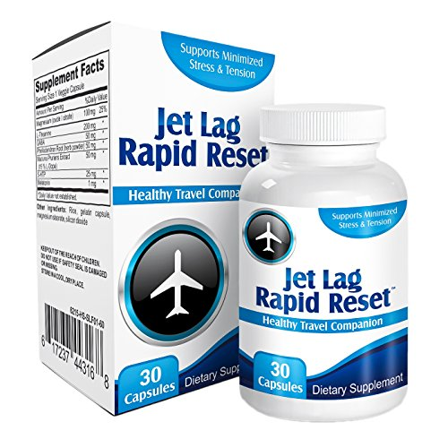 Jet Lag Rapid-Reset: Travel Relief Remedy Supplement Pills - Prevention Complex - Natural Jet Lag Supplements - Formula - 30 Capsules