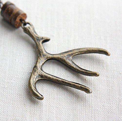 - Elk Antler Keychain Antiqued Bronze Deer Woodland Gift for man Hunt Unisex Gift Coconut Wood Heishi Beads Custom Keyring Handmade and Crafted by KapKaDesign