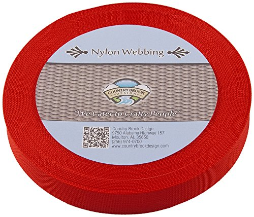 Country Brook Design 1 Inch Red Lite Weight Nylon Webbing, 25 Yards