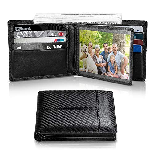 Mens Wallet RFID Genuine Leather Thin Slim Bifold Wallets For Men, ID Window 18 Card Holders Gift Box (Black Stripe)