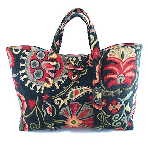 (Large Knitting Tote Bag in Floral Tapestry Fully)