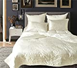 Drefeel Luxury Quality Super Soft Quilted Bedspread Set 3 Pieces King Size 90 by 104 inches - Hypoallergenic Silk Coverlet - Solid Comforter All Season,Ivory