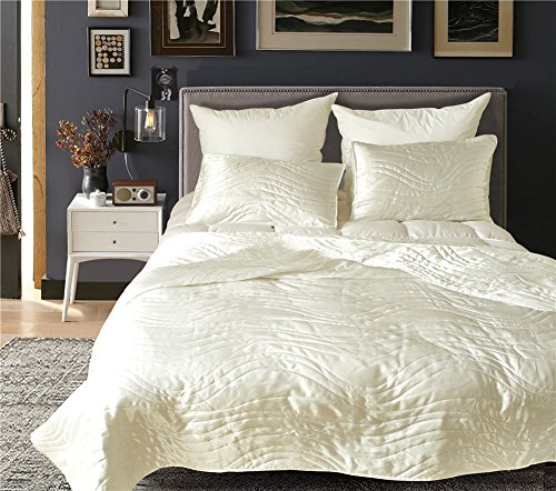 DREFEEL Luxury Quality Super Soft Quilted Bedspread Set 3 Pieces Queen Size 90 by 90 Inches - Hypoallergenic Silk Coverlet - Solid Comforter All - Silk Ivory Comforter