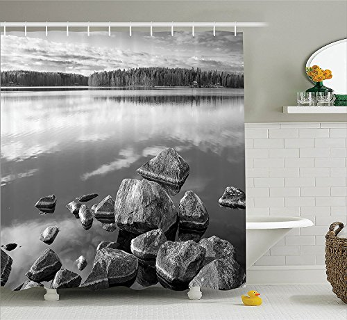 [House Decor Shower Curtain Set Rocks in the Water at the Shore of Lake in Autumn Isolation Tranquility Environment Fabric Bathroom Decor with Hooks Black] (The Pope Costume At The White House)