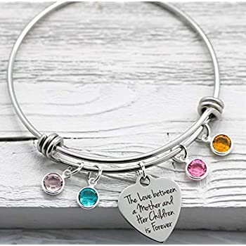 Mother's Day Birthstone Bangle Bracelet – Gift for Mom from Kids – Love Mother Children – Up to (9) Personalized Birthstones