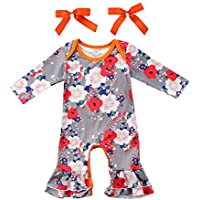 LIKESIDE Toddler Infant Newborn Baby Girls Floral Print Ruffles Romper Jumpsuit Outfits