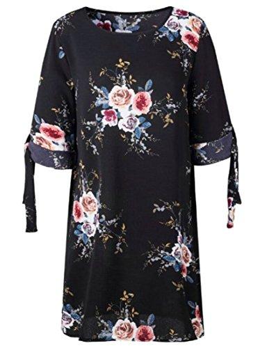 Les Femmes Domple Taille Plus Élégant Bohême Imprimé Floral Moitié Plage Manches Mini Robe 1