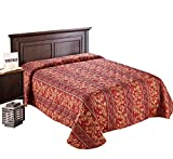 Everest Supply Quilted Bedspread Designed for Hotel/Motel-Resort-Air B&B & Home Over Sized 21'' Fall on Each Side 100% Polyester Fabric-Modern Print-Red-Throw/Flat Style(Full 96x118-5.3 lbs)