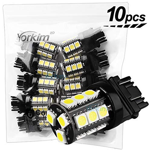 Chevy Blazer Single Headlight - Yorkim Super Bright 3157 LED Light Bulbs White Pack of 10, 3157 LED Brake Lights, 3157 LED Backup Reverse Lights, 3156 LED Reverse Tail Lights, Turn Signal Led - 3056 3156 3057 3157 4157 LED Bulbs