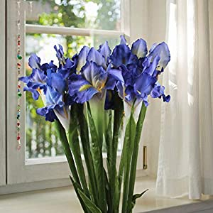 Passion-Producer 3Pcs Artificial Flowers Weddings Artificial Decorations Real Touch Iris Fake Flowers Home Decoration Party Supplies 24