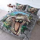 BlessLiving - Juego de Funda de edredón para niños, diseño de Dinosaurio en 3D, con 2 Fundas de Almohada, Estampado de Hojas de la Selva, Supersuave, hipoalergénico, Verde, King