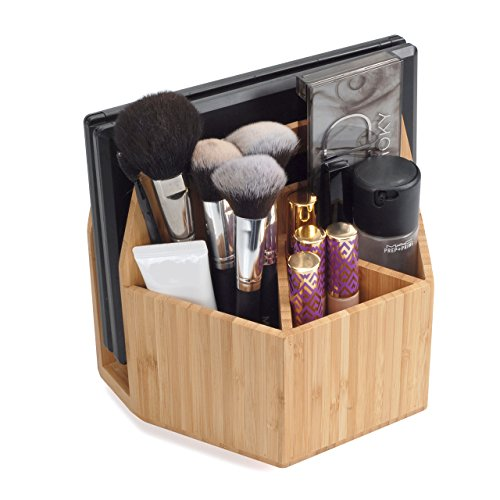 MobileVision Bamboo Makeup Organizer Rotating Caddy, Cosmetics Storage, Palette Holder, Brush Compartments, Tabletop Carousel for Toiletries, Perfumes, Lotions ()