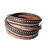 wrap Leather Bangle Charm Winter Leather Bracelet Women Jewelry BW Dropshipping,Brown