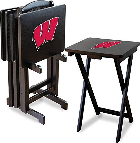 Imperial Officially Licensed NCAA Merchandise: Foldable Wood TV Tray Table Set with Stand, Wisconsin Badgers