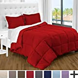 Ultra-Soft Premium 1800 Series Goose Down Alternative Comforter Set - Hypoallergenic - All Season - Plush Fiberfill, Twin Extra Long (Twin XL, Red)