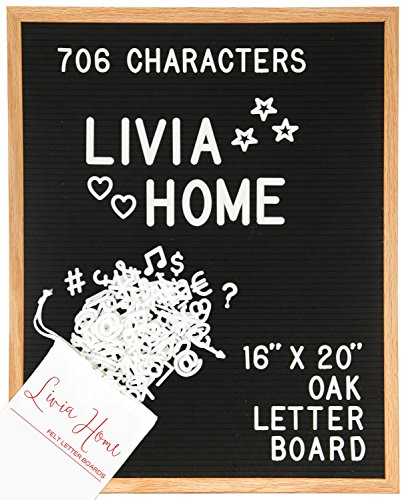 Letter Board - Black Felt Sign with 706 1'' and 2'' White Plastic Changeable Characters - Large Wooden 16 x 20 inch Solid Oak Frame - with 7x5 inch Canvas Bag - Vintage Display by Livia Home by Livia Home