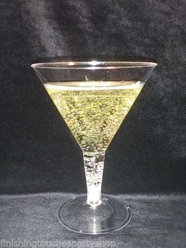 Finishing Touches Party Store -Large 200ml 72 Disposable Clear Plastic Martini Cocktail Glasses -Clear Base Finishes Touches Party Store
