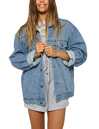 Eliacher Women's Boyfriend Denim Jacket Long Sleeve Loose Jean Jacket Coats (L, Light Blue Washed) ()