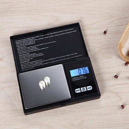 STRIR Balanzas digitales de precisión, 200g/0.01g Balanzas de pesaje portátiles con pantalla LCD, plataforma de peso de acero inoxidable para cocinar cocina ...