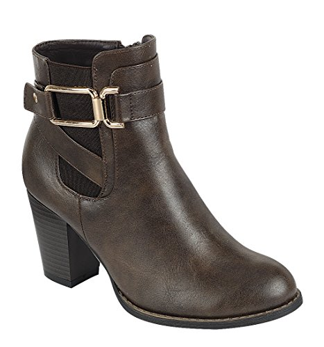 Cambridge Select Womens Strappy Buckle Chelsea Chunky Stacked Heel Ankle Bootie Brown wD2JfYaSQ
