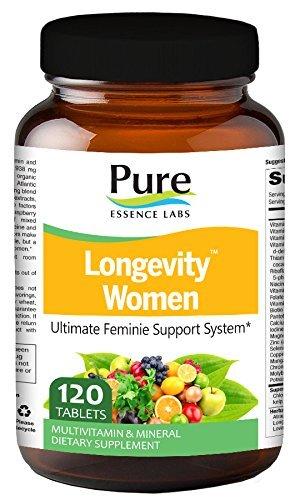 Pure Essence Labs Longevity Women's Formula - Anti Aging Multiple - 120 Tablets