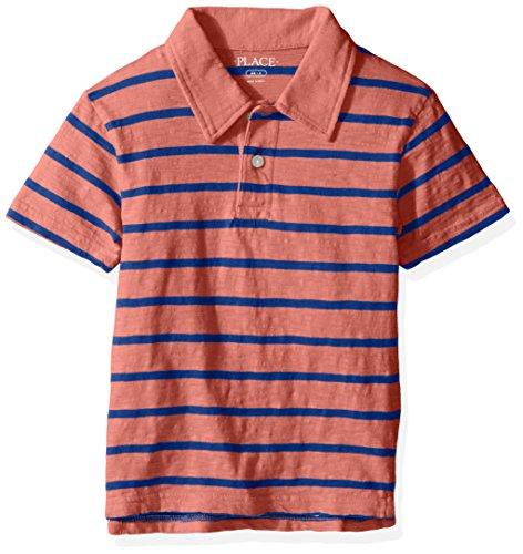 The Children's Place Big Boys' Thin Stripe Polo Shirt, Coral Rocket, XL ()